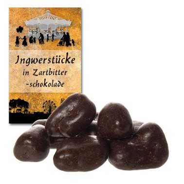 Ingwerstücke in Zartbitterschokolade